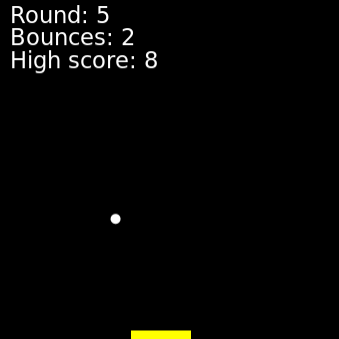 Pong game shows a paddle and ball, with the score and high score at the top.