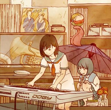 A drawing in the anime style shows a schoolgirl playing an electric keyboard.